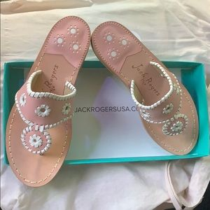 Jack Rogers Sandals in blush and white